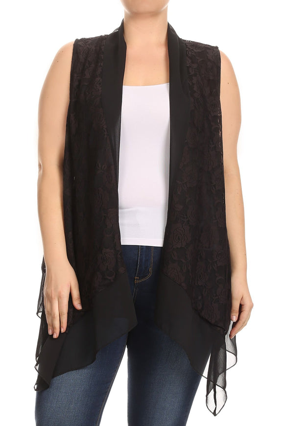 Women Plus Size Sleeveless Chiffon Multi Fabric Lace Cardigan Vest Top Black SE17040-1