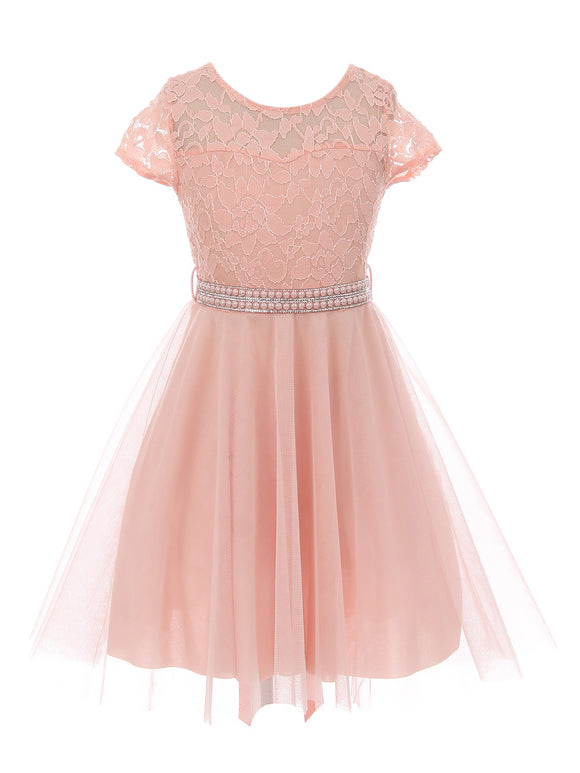 Big Girl Cap Sleeve Lace Tulle Pearl Belt Pageant Party Flower Girl Dress USA Blush 8 JKS 2122