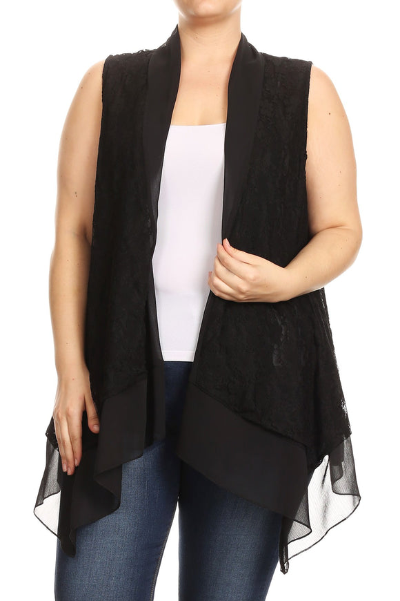 Women Plus Size Sleeveless Chiffon Multi Fabric Lace Cardigan Vest Top Black SE17040-2