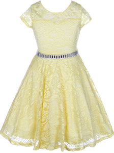 Flower Girl Dress Cap Sleeve Jewel Belt Floral Lace All Over for Big Girl Yellow 8 JK19.88S