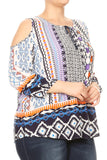 Women Plus Size Tribal Print Top with Shoulder Cut Out Top Tee Blouse Multi SE16020