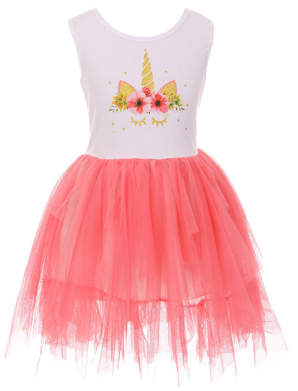 Sleeveless Unicorn Print One-Piece Dress for Little Girl Coral 501354