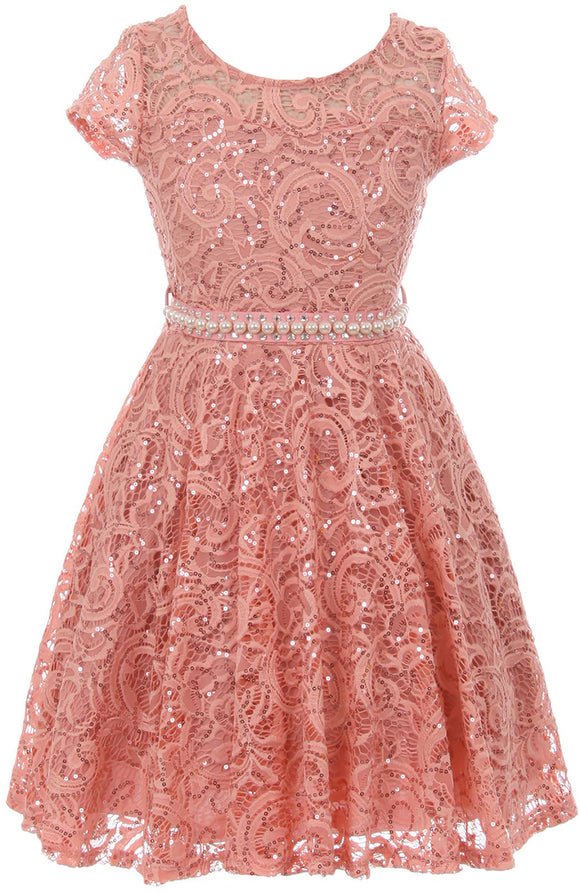 Big Girl Cap Sleeve Floral Lace Glitter Pearl Holiday Party Flower Girl Dress Rose 8 JKS 2102