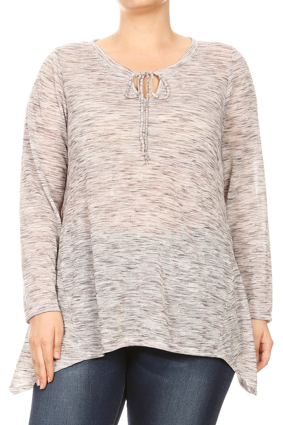 Women Plus Size Long Sleeve with Tie Chest Opening Top Tee Blouse Grey SE17050
