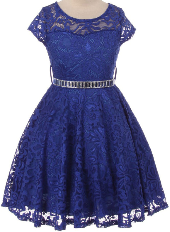 Flower Girl Dress Cap Sleeve Jewel Belt Floral Lace All Over for Big Girl Royal 8 JK19.88S