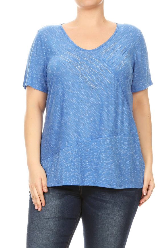 Women Plus Size V-Neck Rhinestone Design Fashion Top Tee Blouse Blue SE16034-3