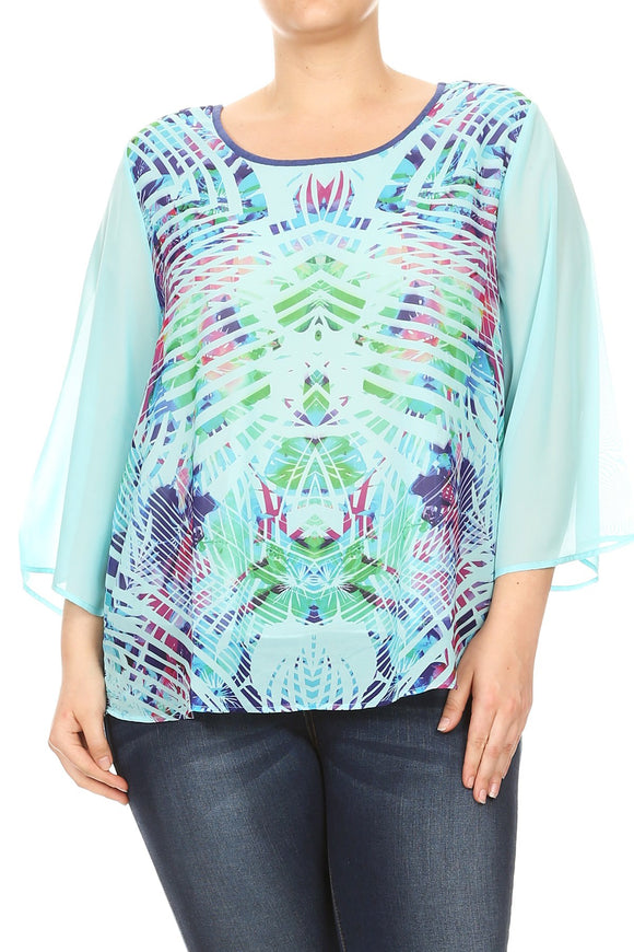 Women Plus Size Chiffon Abstract Design Solid Color Sleeve Top Tee Blouse Aqua SE17024-20