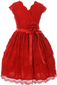 Flower Girl Dress Curly V-Neck Rose Embroidery AllOver for Little Girl Red 8 JKS.2066