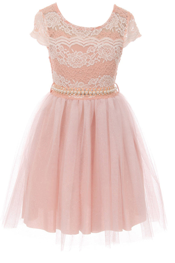 Big Girl Cap Sleeve Lace Pearl Tulle Graduation Wedding Flower Girl Dress USA Blush 8 JKS 2133P
