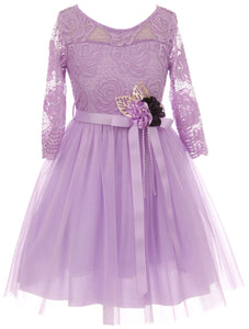 Big Girl Floral Lace Top Tulle Flower Holiday Party Flower Girl Dress USA Lilac 8 JKS 2098