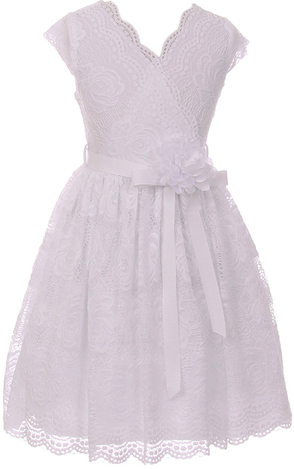 Flower Girl Dress Curly V-Neck White Embroidery AllOver for Little Girl White 8 JKS.2066