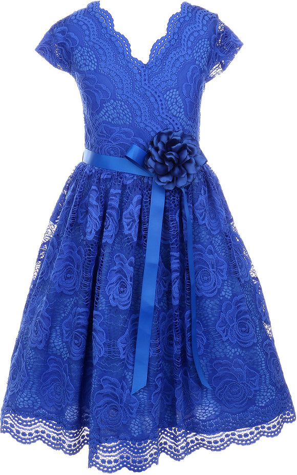 Flower Girl Dress Curly V-Neck Rose Embroidery AllOver for Little Girl Royal 8 JKS.2066