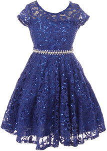 Big Girl Cap Sleeve Floral Lace Glitter Pearl Holiday Party Flower Girl Dress Royal 8 JKS 2102