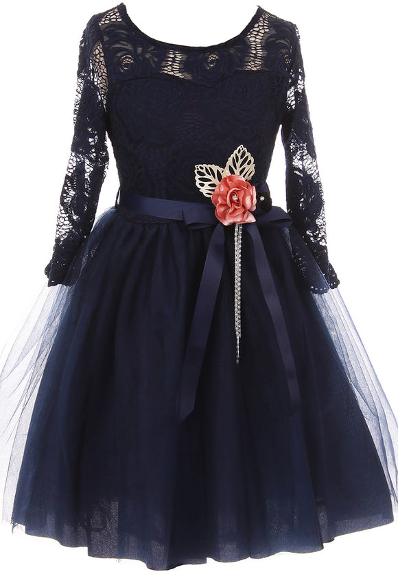 Big Girl Floral Lace Top Tulle Flower Holiday Party Flower Girl Dress USA Navy 8 JKS 2098
