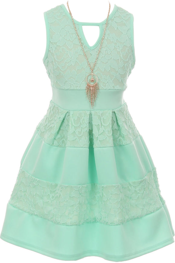 Big Girl Sleeveless Lace Solid Necklace Easter Summer Flower Girl Dress USA Mint 8 JKS 2118