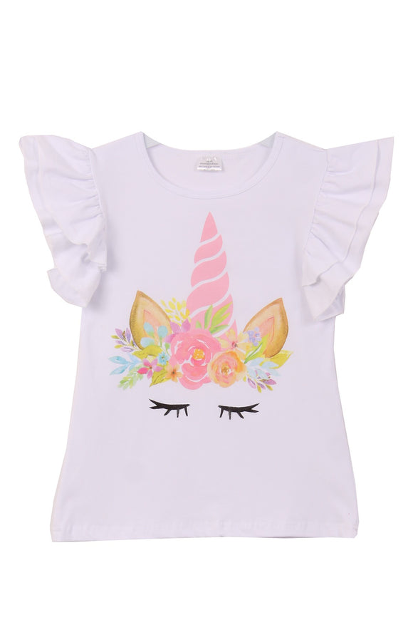 Unicorn Print Tee T-Shirt Top for Big Girl White 201520