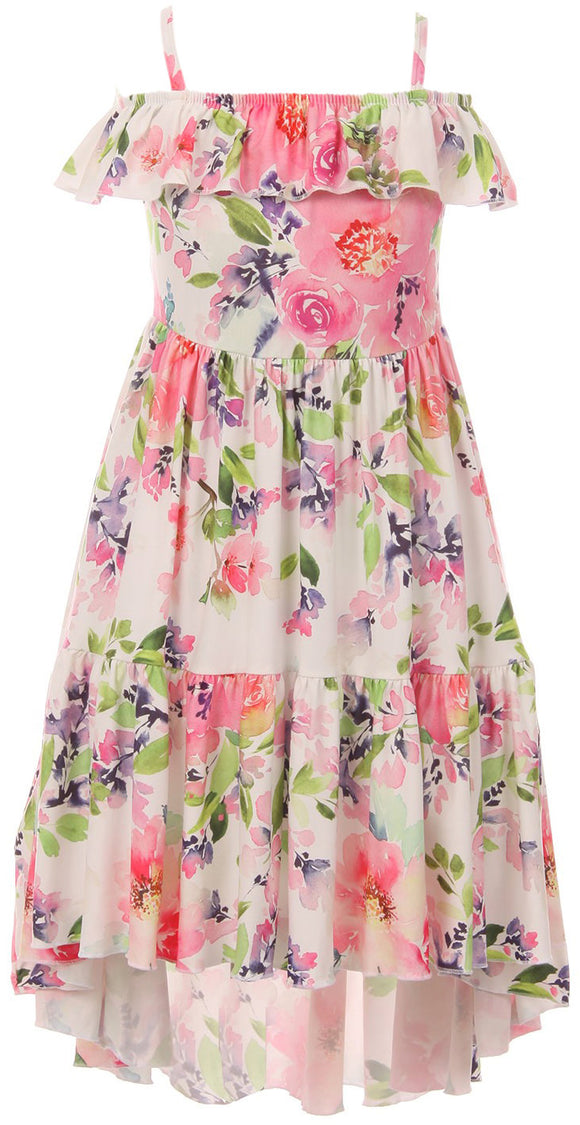 Off Shoulder Flower Print Hi-Low Dress for Little Girl Pink 201531