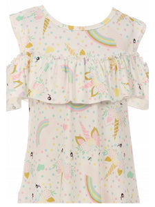 Cold Shoulder Unicorn One-Piece Dress for Little Girl Pink 317853