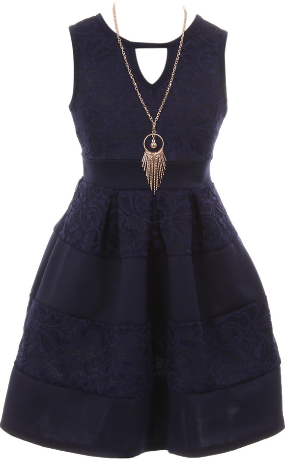 Big Girl Sleeveless Lace Solid Necklace Easter Summer Flower Girl Dress USA Navy 8 JKS 2118