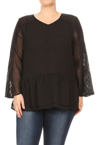 Women Plus Size Chiffon Blouse with Lace Detail Top Tee Blouse Black SE16029