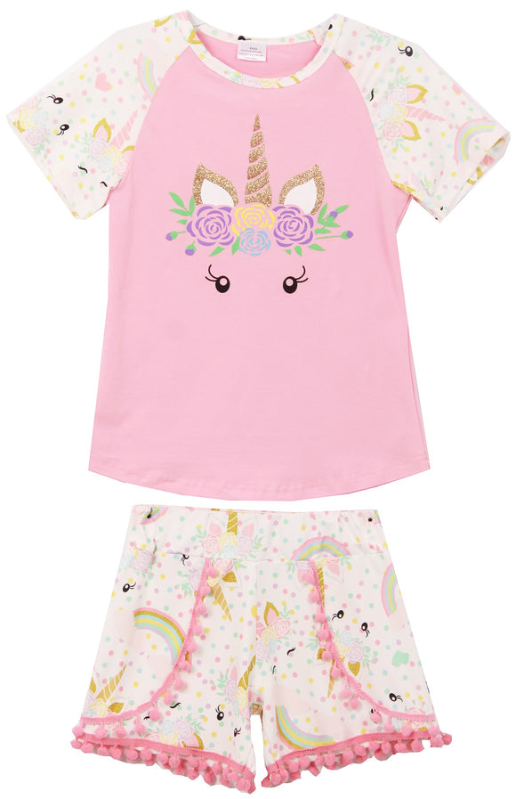 Unicorn Tee Pompom Shorts Set  for Big Girl White 201417