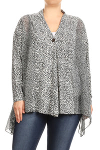 Women Plus Size Leopard Print Long Sleeve Loose Fit Cardigan Vest Top Blue SE17041