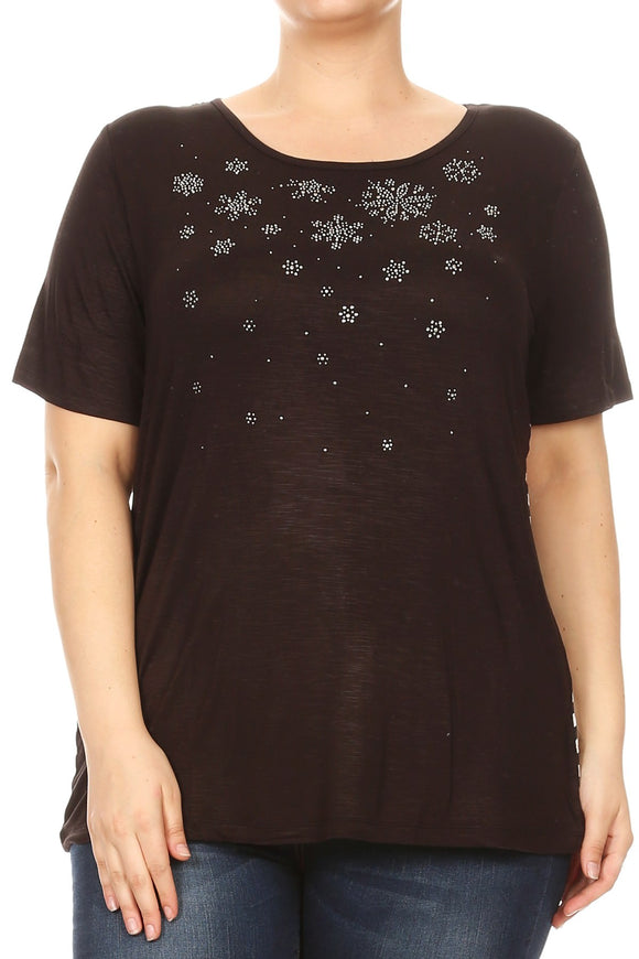 Women Plus Size Floral Snowflake Rhinestone Design Fashion Top Tee Blouse Black SE16037