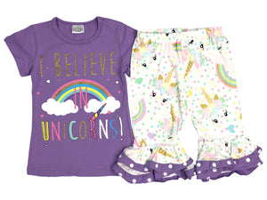 """I  BELIEVE IN UNICORNS"" Pants Set for Big Girl Lilac 201275"