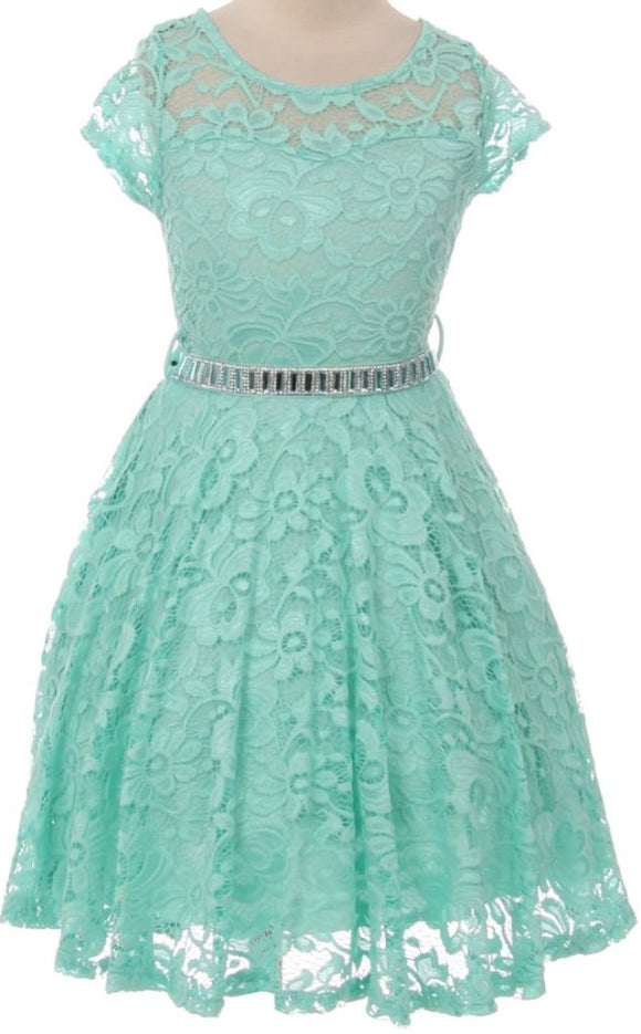 Flower Girl Dress Cap Sleeve Jewel Belt Floral Lace All Over for Big Girl Mint 8 JK19.88S