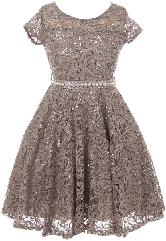 Big Girl Cap Sleeve Floral Lace Glitter Pearl Holiday Party Flower Girl Dress Silver 8 JKS 2102