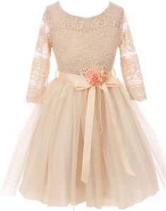 Big Girl Floral Lace Top Tulle Flower Holiday Party Flower Girl Dress USA Champagne 8 JKS 2098