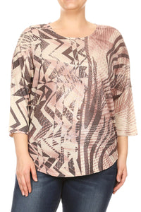 Women Plus Size Abstract Design Fashion 3/4 Sleeve Top Tee Blouse Pink SE16035