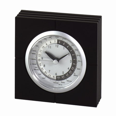 Personalized Free Engraving Black Silver Desk World Clock - GiftsEngraved