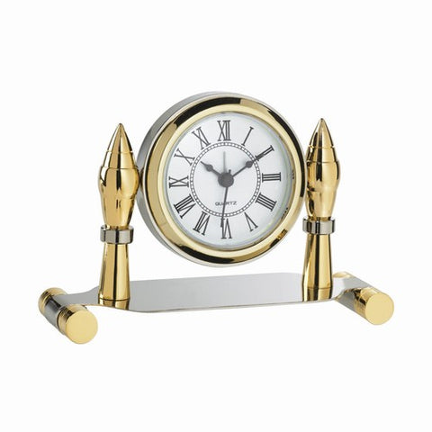 Personalized Free Engraving Silver Gold Two Tone Desk Clock - GiftsEngraved