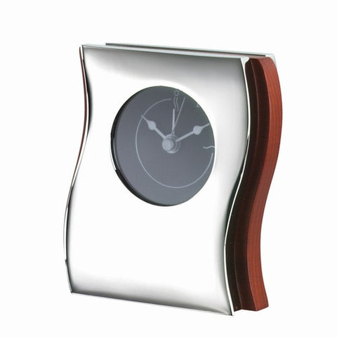 Personalized Free Engraving Wood with Silver Accent Desk Alarm Clock - GiftsEngraved