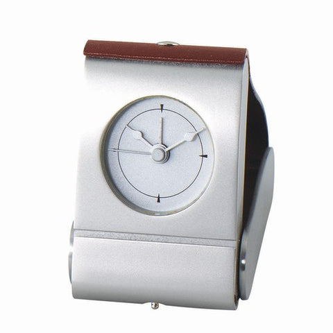 Personalized Free Engraving Leather Silver Desk Travel Foldable Alarm Clock - GiftsEngraved