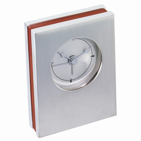 Personalized Free Wood Accent Silver Desk Alarm Clock - GiftsEngraved