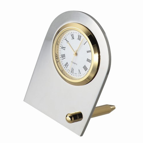 Personalized Free Engraving Silver and Gold Tone Desk Clock - GiftsEngraved