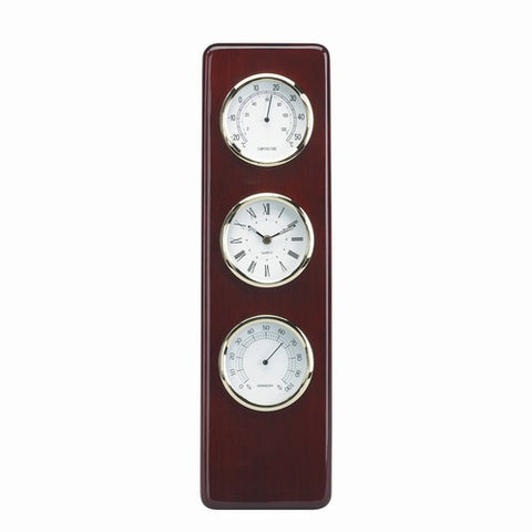 Personalized Free Engraving Cherry Wood Finish Desk Weather Thermometer Hygrometer Clock - GiftsEngraved