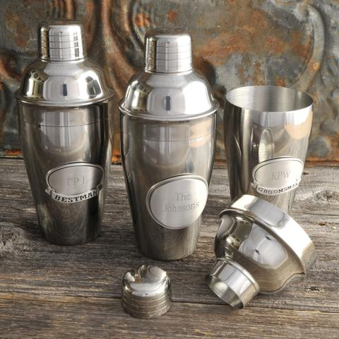 Personalized Mixologist Cocktail Shaker with Pewter Medallion Free Engraving - GiftsEngraved