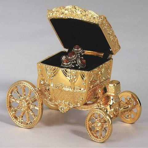 Personalized Free Engraving Goldtone Carriage Jewelry Case
