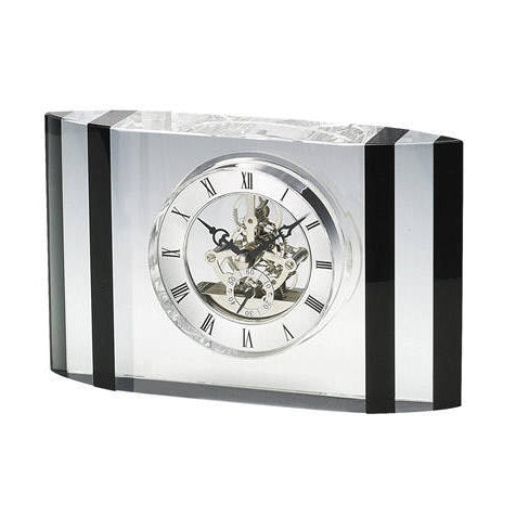 Personalized Free Engraving Crystal Trophy Desk Clock for Wedding Housewarming Corporate Executive Office Retirement Anniversary Graduation