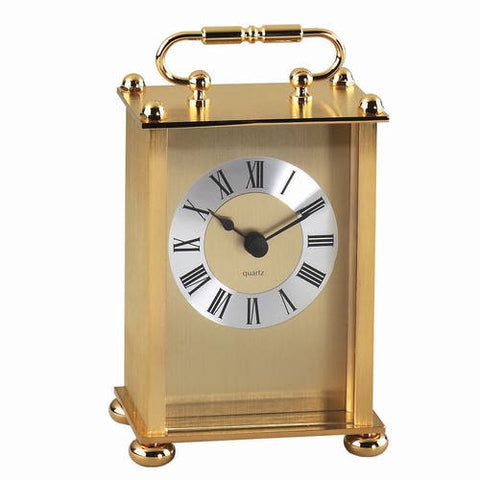 Personalized Free Engraving Goldtone Carriage Clock Birthday 50th Anniversary Wedding Housewarming Retirement Executive Boss Corporate Her