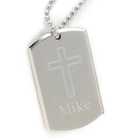 Personalized Large Inspirational Dog Tag with Engraved Cross and Free Engraving - GiftsEngraved