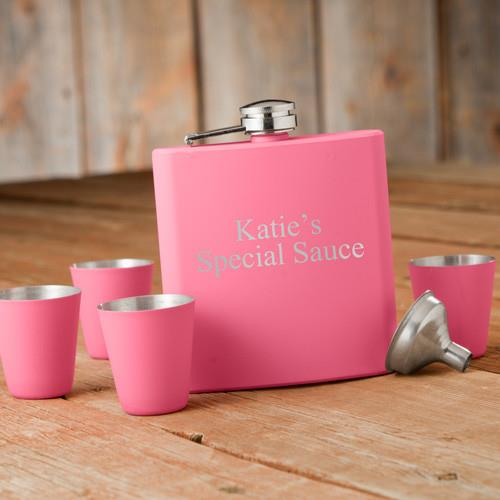 Personalized Free Pink Flask with Four Shot Glasses and Funnel Gift Box Set - GiftsEngraved