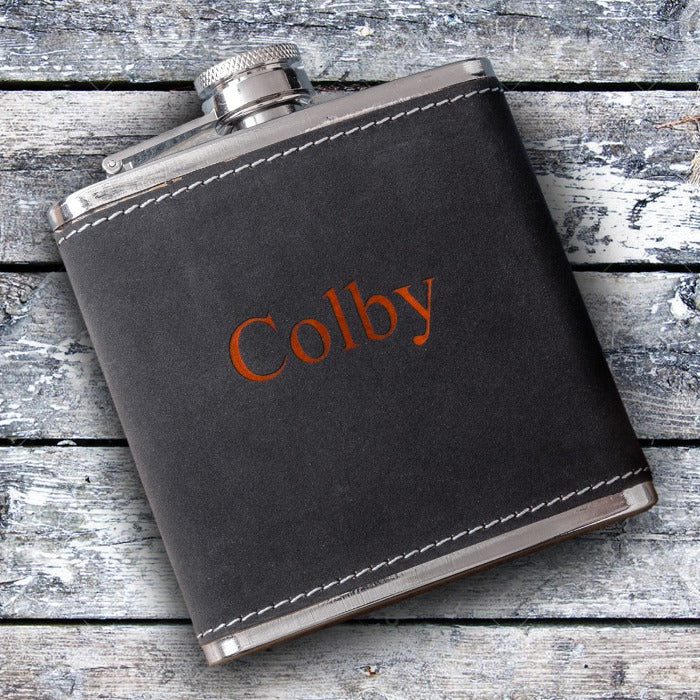 Personalized 6oz Suede Flask with Orange Lettering Free Engraving - GiftsEngraved