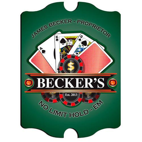 Vintage Series Personalized Signs  - POKER - GiftsEngraved