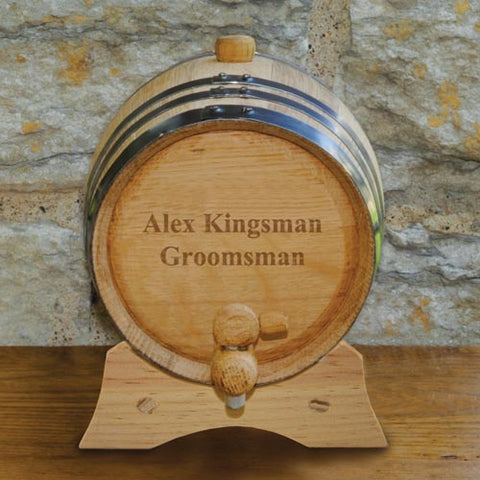 Personalized Oak Whiskey Barrel Free Engraving - GiftsEngraved
