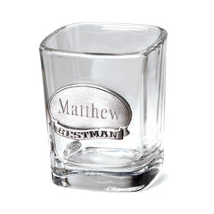 Personalized Shot Glass with Pewter Medallion Free Engraving - GiftsEngraved