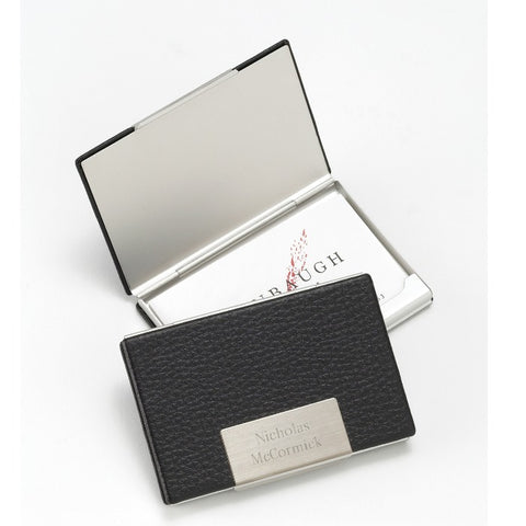 Personalized Black Leather Business Card Case Free Engraving - GiftsEngraved